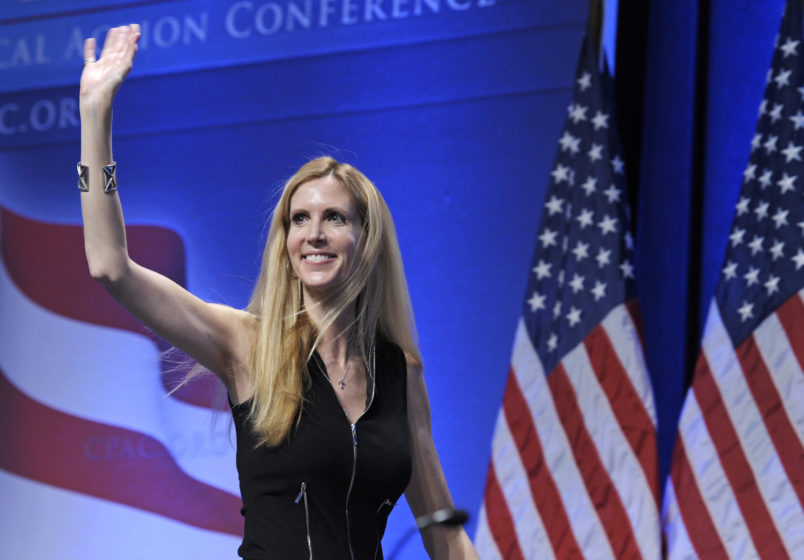Ann Coulter waves to the audience after speaking at the Conservative Political Action Conference (CPAC) in Washington, Saturday, Feb. 12, 2011. The annual gathering of more than 11,000 conservatives marked the unofficial start of the GOP presidential nomination fight. (AP Photo/Cliff Owen)