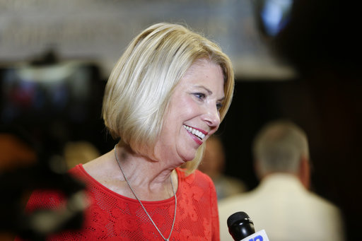 Republican Omaha mayor Jean Stothert smiles during a television interview after defeating Democratic mayoral candidate Heath Mello in the contest for mayor, in Omaha, Neb., Tuesday, May 9, 2017. The race has drawn national attention as Democrats seek new energy given huge Republican gains in local, state and federal offices across the country. (AP Photo/Nati Harnik)