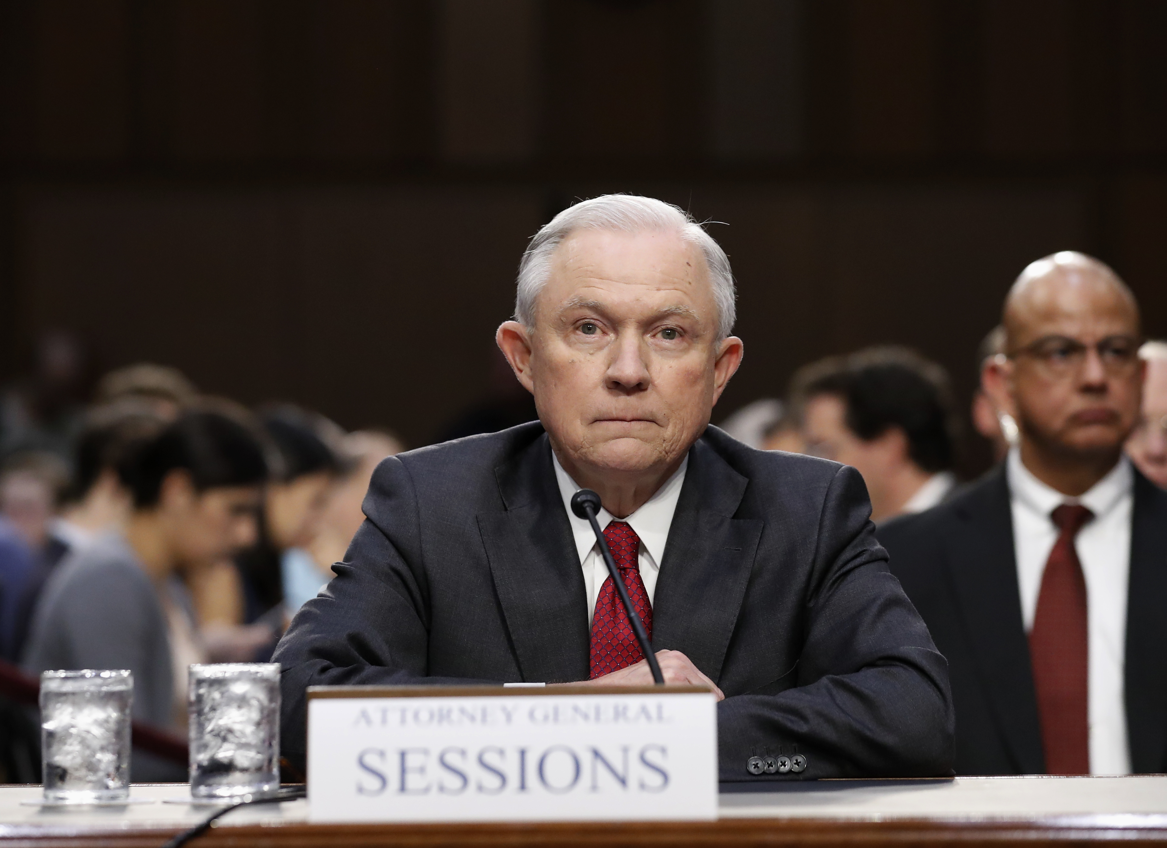 Attorney General Jeff Sessions is sworn-in on Capitol Hill in Washington, Tuesday, June 13, 2017, prior to testifying before the Senate Intelligence Committee hearingabout his role in the firing of James Comey, his Russian contacts during the campaign and his decision to recuse from an investigation into possible ties between Moscow and associates of President Donald Trump. (AP Photo/Alex Brandon)