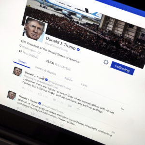 President Donald Trump's Twitter page with his tweets about not recording his conversations with former FBI Director James Comey is photographed in Washington, Thursday, June 22, 2017. (AP Photo/J. David Ake)