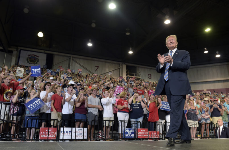 President Donald Trump arrives to speak at a campaign-style rally at Big Sandy Superstore Arena in Huntington, W.Va., Thursday, Aug. 3, 2017. (AP Photo/Susan Walsh)