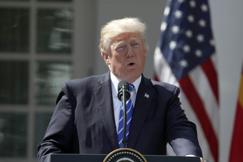 President Donald Trump speaks during a news conference with Spanish Prime Minister Mariano Rajoy in the Rose Garden of the White House, Tuesday, Sept. 26, 2017, in Washington. (AP Photo/Alex Brandon)