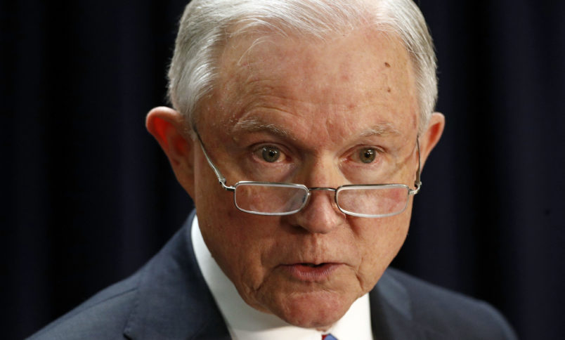 Attorney General Jeff Sessions speaks at a news conference in Baltimore, Tuesday, Dec. 12, 2017, to announce efforts to combat the MS-13 street gang with law enforcement and immigration actions. (AP Photo/Patrick Semansky)