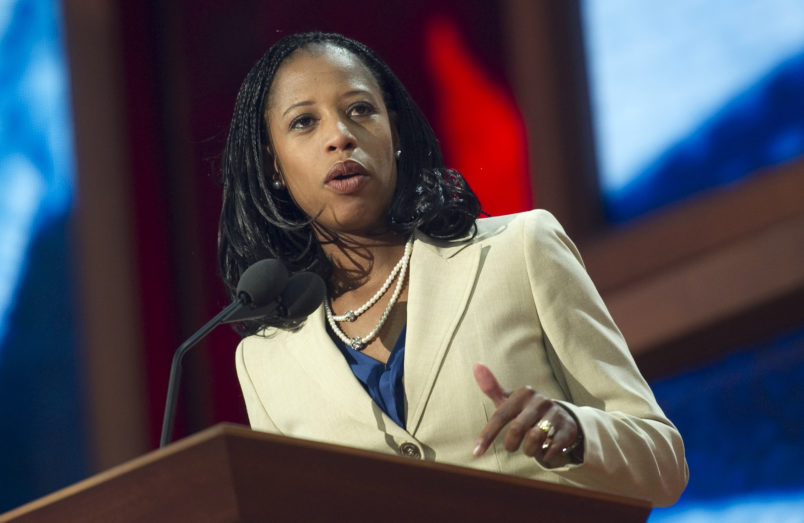 UNITED STATES - AUGUST 28: Saratoga Springs Mayor Mia Love speaks at the 2012 Republican National Convention at the Tampa Bay Times Forum. (Photo By Chris Maddaloni/CQ Roll Call)