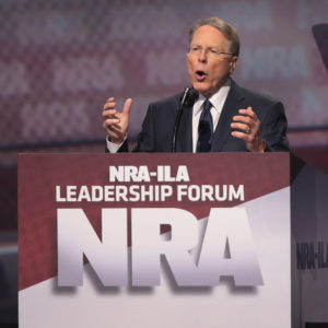 ATLANTA, GA - APRIL 28:  Wayne LaPierre,  executive vice president and CEO of the NRA, speaks at the NRA-ILA's Leadership Forum at the 146th NRA Annual Meetings & Exhibits on April 28, 2017 in Atlanta, Georgia. The convention is the largest annual gathering for the NRA's more than 5 million members.  (Photo by Scott Olson/Getty Images)