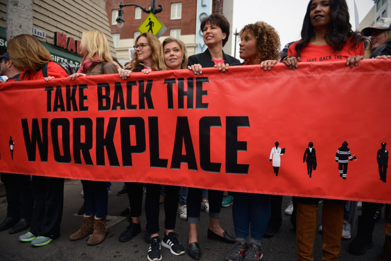 Participants seen at Take Back The Workplace March And #MeToo Survivors March & Rally on November 12, 2017 in Hollywood, California.