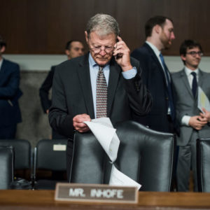 UNITED STATES - MAY 18: Sen. James Inhofe, R-Okla., prepares for a Senate Armed Services Committee confirmation hearing in Dirksen Building on May 18, 2017. (Photo By Tom Williams/CQ Roll Call)