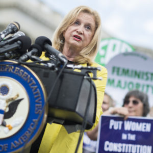 UNITED STATES - JUNE 6: Rep. Carolyn Maloney, D-N.Y., speaks during a news conference at the House Triangle on the need to ratify the Equal Rights Amendment on June 6, 2018. (Photo By Tom Williams/CQ Roll Call)