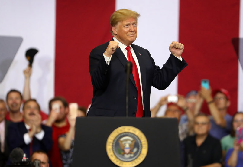 "U.S. president Donald Trump speaks to supporters during a campaign rally at Scheels Arena on June 27, 2018 in Fargo, North Dakota. President Trump held a campaign style ""Make America Great Again"" rally in Fargo, North Dakota with thousands in attendance."