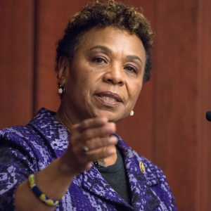 WASHINGTON, DC - MARCH 24: Congresswoman Barbara Lee speaks during the 2015 amfAR Capitol Hill Conference at U.S. Capitol Visitor Center on March 24, 2015 in Washington, DC. (Photo by Leigh Vogel/Getty Images)