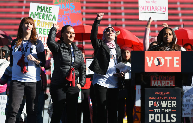"speaks during the Women's March ""Power to the Polls"" voter registration tour launch at Sam Boyd Stadium on January 21, 2018 in Las Vegas, Nevada. Demonstrators across the nation gathered over the weekend, one year after the historic Women's March on Washington, D.C., to protest President Donald Trump's administration and to raise awareness for women's issues."