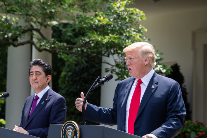 Prime Minister of Japan Shinzō Abe, and U.S. President Donald Trump hold a joint press conference in the Rose Garden at the White House in Washington, D.C., on Thursday, June 7, 2018. (Photo by Cheriss May/NurPhoto)