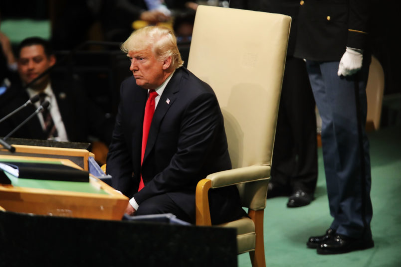 NEW YORK, NY - SEPTEMBER 25:  President Donald Trump pauses after addressing the 73rd United Nations (U.N.) General Assembly on September 25, 2018 in New York City. The United Nations General Assembly, or UNGA, is expected to attract 84 heads of state and 44 heads of government in New York City for a week of speeches, talks and high level diplomacy concerning global issues. New York City is under tight security for the annual event with dozens of road closures and thousands of security officers patrolling city streets and waterways.  (Photo by Spencer Platt/Getty Images)