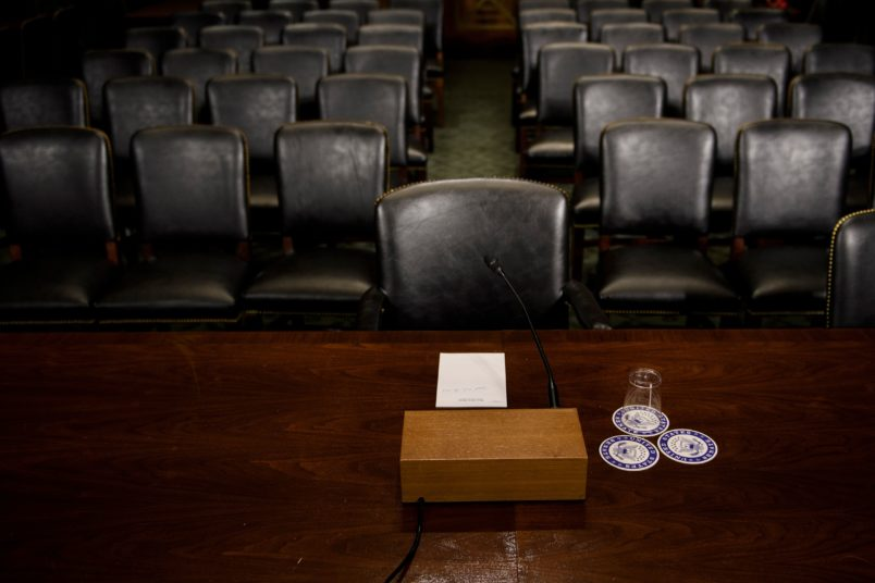 The Senate Judiciary Committee's room is seen on Capitol Hill September 26, 2018 in Washington, DC, during preparations one day before the hearing with Blasey Ford and Supreme Court nominee Judge Brett Kavanaugh. - University professor Christine Blasey Ford, who is set to testify before the Senate committee,  claims Kavanaugh attacked her at a party when they were both teenagers. (Photo by Brendan Smialowski / AFP)        (Photo credit should read BRENDAN SMIALOWSKI/AFP/Getty Images)