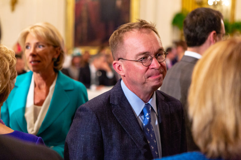 Office of Management and Budget Director Mick Mulvaney, attends U.S. President Donald Trump's 'The Pledge To America's Workers' event in the East Room of the White House, in Washington, D.C. on Thursday, July 19, 2018  (Photo by Cheriss May/NurPhoto)
