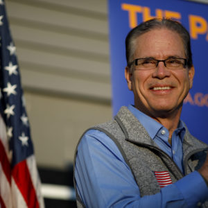 GREENWOOD, IN - NOVEMBER 03: Republican Senate candidate Mike Braun looks on during a campaign stop on November 3, 2018 in Greenwood, Indiana. Braun is locked in a tight race with incumbent Democrat Sen. Joe Donnelly. (Photo by Aaron P. Bernstein/Getty Images)