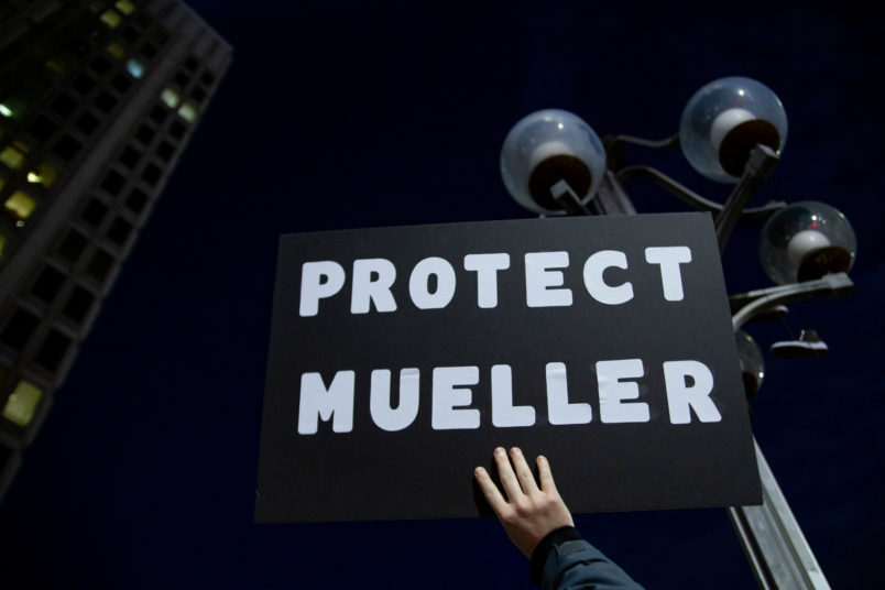 Hundreds of protestors gather and march in Philadelphia, November 8, 2018 in an event pre-planned by organizers and triggered by President Trump's firing of Attorney General Sessions and appointment of Matthew Whitaker as Acting AG, seen as a potential threat against the Mueller investigation. (Photo by Michael Candelori/NurPhoto)