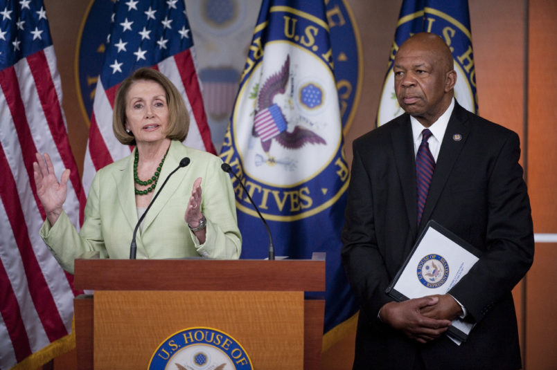 UNITED STATES – MAY 26: House Minority Leader Nancy Pelosi, D-Calif., holds her weekly news conference with Rep. Elijah Cummings, D-Md., on Thursday, May 26, 2011, to discuss gas prices and Medicare. (Photo By Bill Clark/Roll Call)