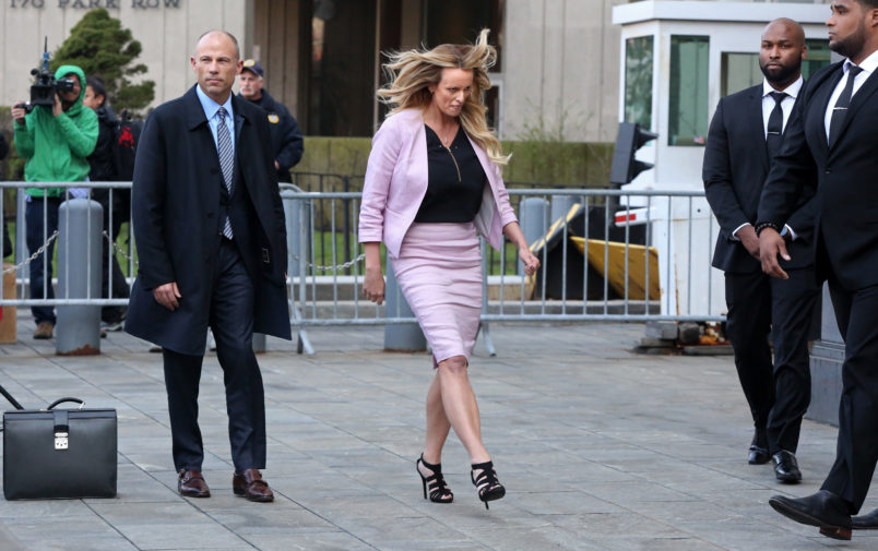 NEW YORK, NY - APRIL 16: Stormy Daniels prepares to leave Federal Court after a hearing related to the FBI raid on Michael Cohen's hotel room and office on April 16, 2018 in New York City. (Photo by Yana Paskova/Getty Images)