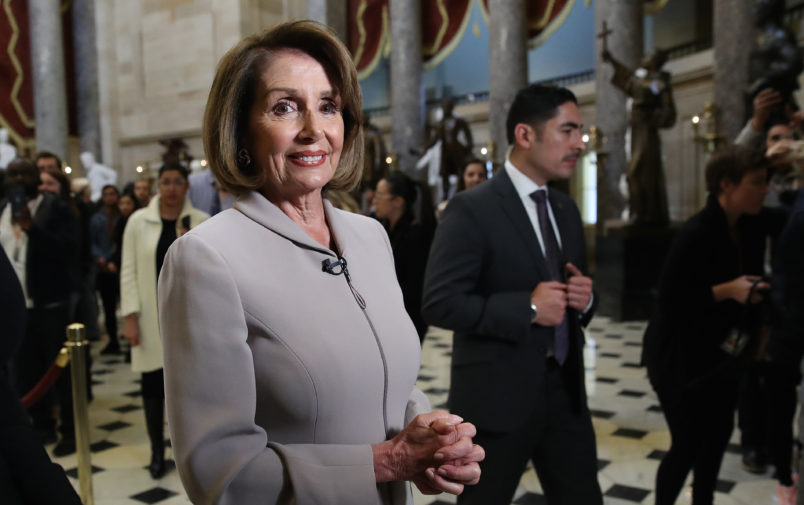 WASHINGTON, DC - JANUARY 02: House Democratic Leader Nancy Pelosi (D-CA) is interviewed while walking through the U.S. Capitol on January 02, 2019 in Washington, DC. Pelosi, who is scheduled to become the next Speaker of the House tomorrow, will meet with other leaders of Congress and U.S. President Donald Trump at the White House later today to discuss border security and ending the partial shutdown of the U.S. government. (Photo by Win McNamee/Getty Images)
