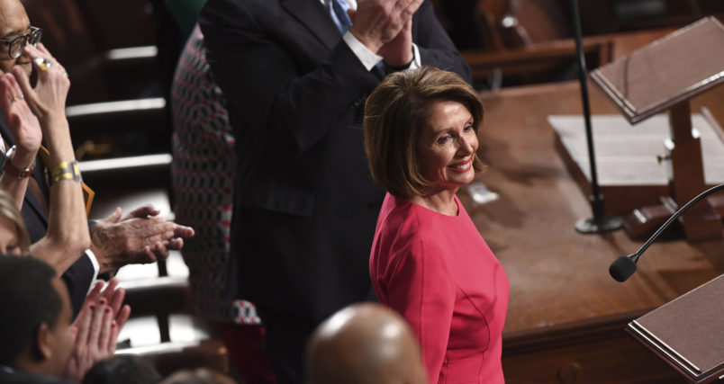 Incoming Speaker of the House Nancy Pelosi reacts to applause during the 116th Congress and swearing-in ceremony on the floor of the US House of Representatives at the US Capitol on January 3, 2019 in Washington,DC. (Photo by SAUL LOEB / AFP)        (Photo credit should read SAUL LOEB/AFP/Getty Images)