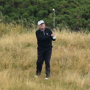 U.S. President Donald Trump plays a round of golf at Trump Turnberry Luxury Collection Resortduring the U.S. President's first official visit to the United Kingdom on July 15, 2018 in Turnberry, Scotland. The President of the United States and First Lady, Melania Trump on their first official visit to the UK after yesterday's meetings with the Prime Minister and the Queen is in Scotland for private weekend stay at his Turnberry.