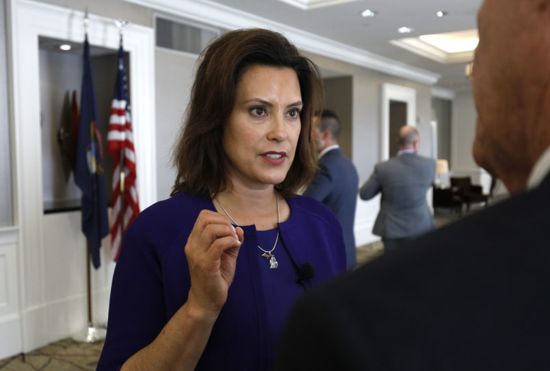 DETROIT, MI - AUGUST 8: Gretchen Whitmer, Michigan democratic gubernatorial nominee, speaks with a reporter after a Democrat Unity Rally at the Westin Book Cadillac Hotel August 7th, 2018 in Detroit, Michigan. Whitmer will face off against republican gubernatoral nominee Bill Schuette in November. (Photo by Bill Pugliano/Getty Images)