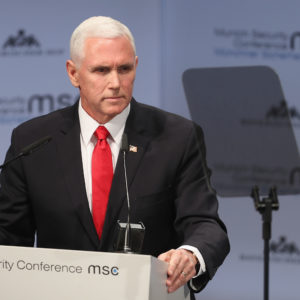 xx gives his speech during the 55th Munich Security Conference (MSC) on February 16, 2019 in Munich, Germany. The annual conference, which brings together political and defense leaders from across the globe, is taking place under heightened tensions between the USA, together with its western allies, and Russia. The MSC is the worldwide leading forum for debating international security policy.