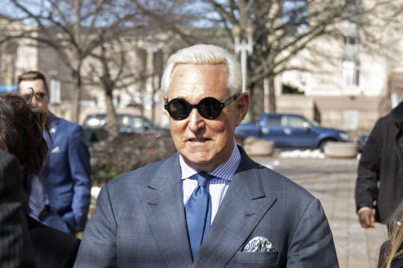 WASHINGTON, DC - FEBRUARY 21: Roger Stone arrives to appear in court on Thursday at the E. Barrett Prettyman U.S. Courthouse on February 21, 2019 in Washington, DC. Stone is back in court after a social media post he made that may have violated the terms of his release.(Photo by Alex Wroblewski/Getty Images)