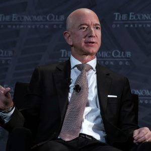 WASHINGTON, DC - SEPTEMBER 13:  CEO and founder of Amazon Jeff Bezos participates in a discussion during a Milestone Celebration dinner September 13, 2018 in Washington, DC. Economic Club of Washington celebrated its 32nd anniversary at the event.  (Photo by Alex Wong/Getty Images) *** Local Caption *** Jeff Bezos