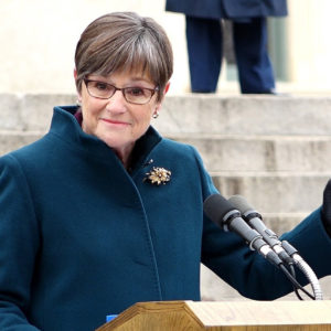 Laura Kelly speaks after being sworn in as the 48th governor of Kansas in an inauguration ceremony in front of the statehouse Monday, Jan. 14, 2019 in Topeka, Kan. (Jill Toyoshiba/The Kansas City Star/TNS)