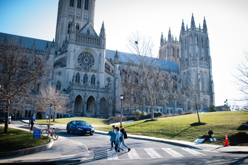 WASHINGTON, DC - JANUARY 25: People walk near Washington National Cathedral. Massachusetts Avenue Heights is a neighborhood in DC that is bounded to the north by Woodley Road, to the southwest by Massachusetts Avenue, to the east by 34th Street NW, and to the west by Wisconsin Avenue. (Photo by Sarah L. Voisin/The Washington Post)
