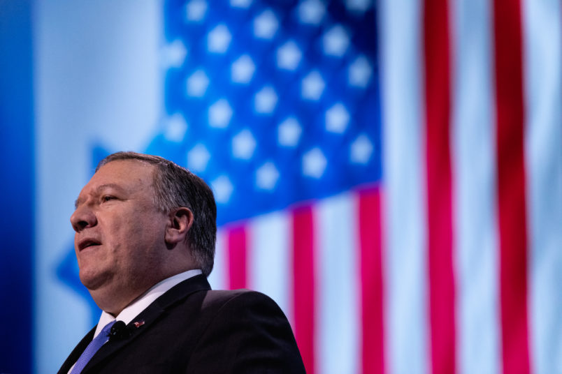 U.S. Secretary of State Mike Pompeo, speaks at the 2019 American Israel Public Affairs Committee (AIPAC) Policy Conference, at the Walter E. Washington Convention Center in Washington, D.C., on Monday, March 25, 2019. (Photo by Cheriss May/NurPhoto)