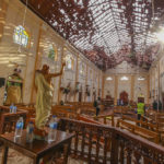 Damage inside katuwapitiya st Sebastian church after a blast in Negombo , Sunday, April 21, 2019. (Ap Photo- Rohan Karunarathne)
