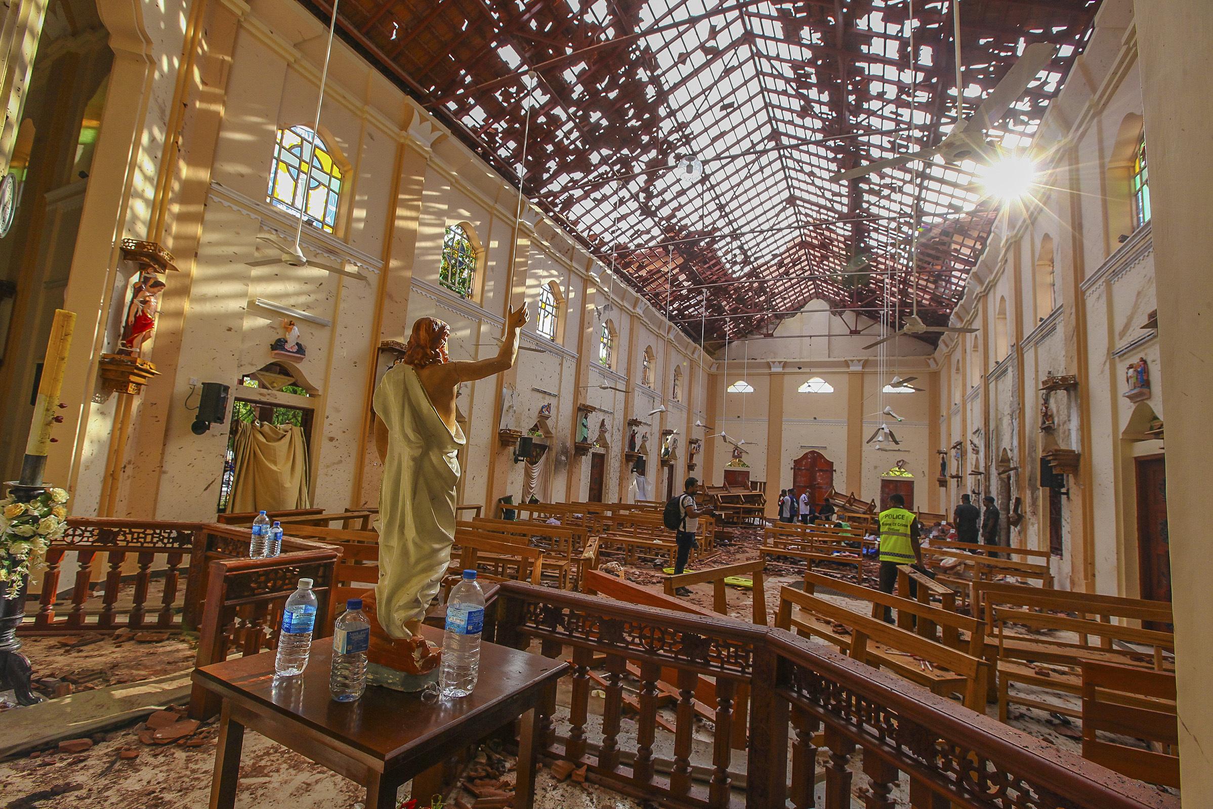 Damage inside katuwapitiya st Sebastian church after a blast in Negombo , Sunday, April 21, 2019. (Ap Photo- Rohan Karunarathne)