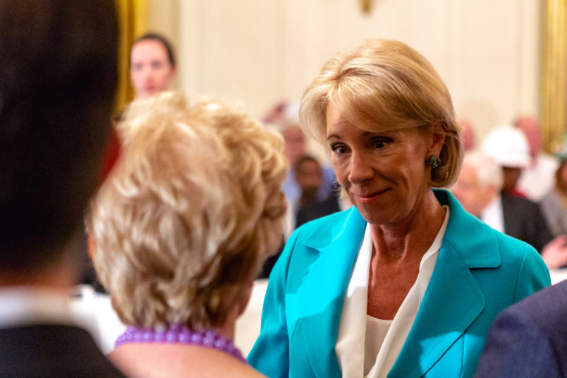U.S. Secretary of Education Betsy DeVos, attends U.S. President Donald Trump's 'The Pledge To America's Workers' event in the East Room of the White House, in Washington, D.C. on Thursday, July 19, 2018  (Photo by Cheriss May/NurPhoto)