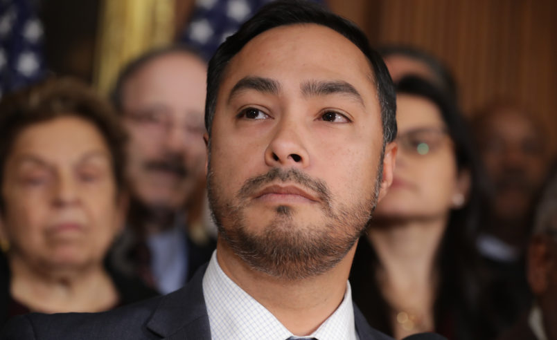 WASHINGTON, DC - FEBRUARY 25:  Rep. Joaquin Castro (D-TX)  speaks during a news conference about the resolution he has sponsored to terminate President Donald Trump's emergency declaration February 25, 2019 in Washington, DC. The House is expected to vote on and pass a resolution this week that would abolish Trump's declaration of a national emergency to build a U.S.-Mexico border wall. (Photo by Chip Somodevilla/Getty Images)