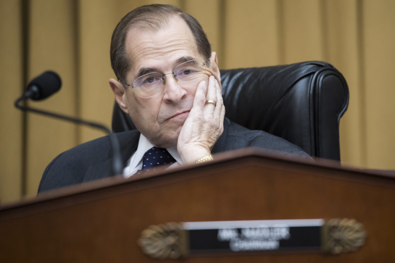 UNITED STATES - MAY 2: Chairman Jerrold Nadler, D-N.Y., prepares to begin a House Judiciary Committee hearing in Rayburn Building that was scheduled to feature testimony by Attorney General William Barr on Russian Interference in the 2016 election and the Robert Mueller report on Thursday, May 2, 2019. Barr did not show up for the hearing citing displeasure with the format. (Photo By Tom Williams/CQ Roll Call)