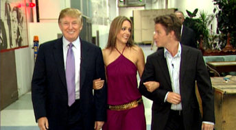 VIDEO FRAME GRAB: In this 2005 frame from video, Donald Trump prepares for an appearance on 'Days of Our Lives' with actress Arianne Zucker (center). He is accompanied to the set by Access Hollywood host Billy Bush. (Obtained by The Washington Post)