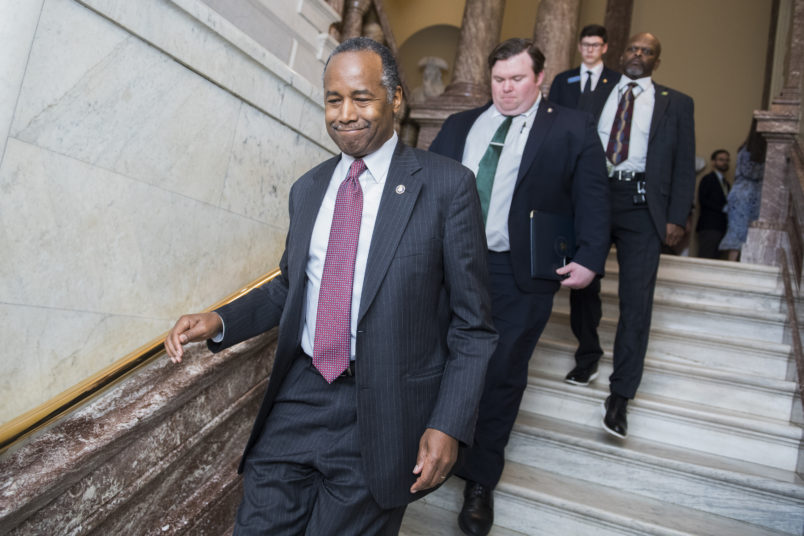 UNITED STATES - MARCH 14: Housing and Urban Development Secretary Ben Carson is seen in the Capitol on Thursday March 14, 2019.(Photo By Tom Williams/CQ Roll Call)