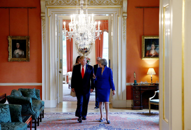 U.S. President Donald Trump and first lady Melania Trump meet with Britain's Prime Minister Theresa May and her husband Philip in Downing Street, as part of Trump's state visit in London, Britain, June 4, 2019. REUTERS/Henry Nicholls/Pool