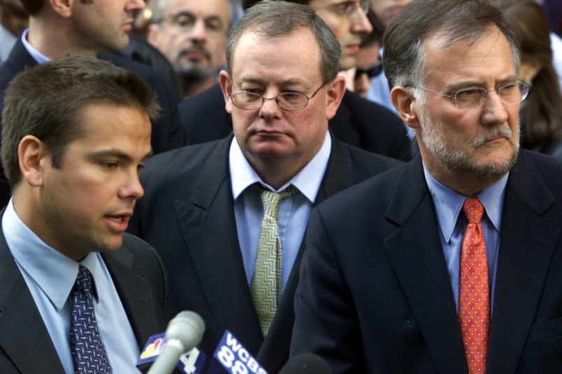 Gary Friedman –– – 037808.na.1019.anthrax3.gf Lachlan Murdoch (LEFT), Chairman of the N.Y. Post, Col Allan, Editor–In Chief (MIDDLE), & Ken Chandler (RIGHT), publisher of the N.Y. Post, addresses the media outside the N.Y. Post in midtown Manhattan on Friday, 10/19/2001––theywere talking about one of the papers employees who tested positive for cutaneous anthrax. The employee was first tested for anthrax following the discovery of anthrax at NBC last Friday. Initial tests of this employee since last Friday for anthrax came back negative. The source for the infection is unknown: the employee, a female member of the support staff for the editorial page editor, has already returned to work & is expected to make a complete recovery. She first noticed a blister on one of her fingers on 9/22. She scratched the blister & it became infected. She later visited a medical clinic, where she was treated w/antibiotics. Several days later, the employee removed the bandage on the finger &noticed a black sore. She then visited a hospital & was treated w/more antibiotics., after which she returned to work.