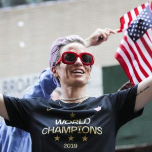 NEW YORK, July 11, 2019 -- U.S. women's soccer team member Megan Rapinoe celebrates the ticker-tape parade for World Cup-winning United States women's soccer team in New York, the United States, July 10, 2019. (Photo by Wang Ying/Xinhua via Getty)