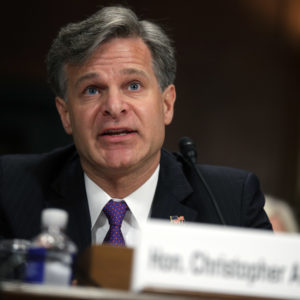 FBI director nominee Christopher Wray testifies during his confirmation hearing before the Senate Judiciary Committee July 12, 2017 on Capitol Hill in Washington, DC. If confirmed, Wray will fill the position that has been left behind by former director James Comey who was fired by President Donald Trump about two months ago.