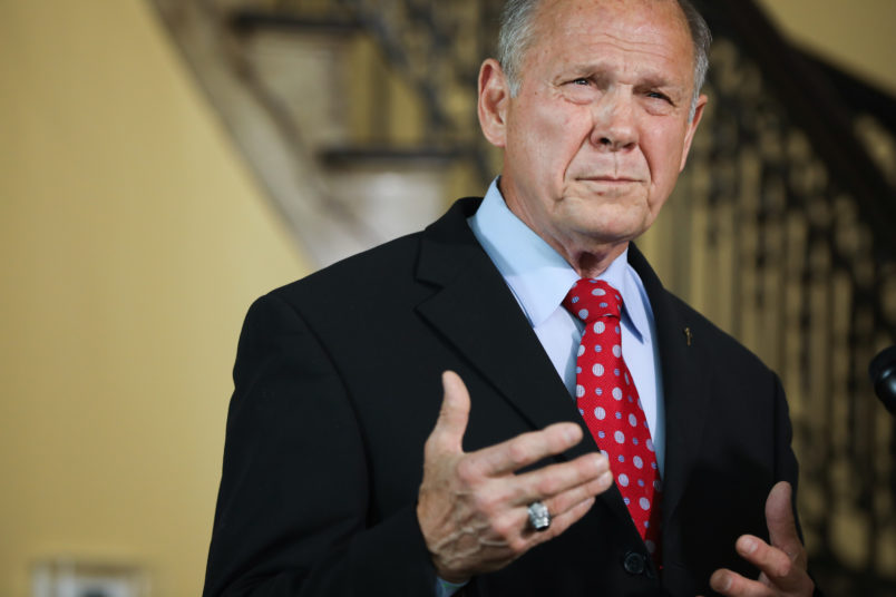 MONTGOMERY, AL - JUNE 20: During a press conference, Roy Moore announces his plans to run for U.S. Senate in 2020 on June 20, 2019 in Montgomery, Alabama.  Moore lost a special election in 2017 for the Senate seat against Democratic Senator Doug Jones.  (Photo by Jessica McGowan/Getty Images)