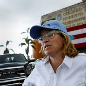 SAN JUAN, PUERTO RICO--OCT. 2, 2017--San Juan mayor Carmen Yulin Cruz believes this is not the time for politics, including the discussion of statehood for Puerto Rico. She says all should come together to try to help the island recover. The debate over whether or not Puerto Rico should be given statehood has surfaced again with the attention hurricane Maria brought to the island. (Carolyn Cole/Los Angeles Times)