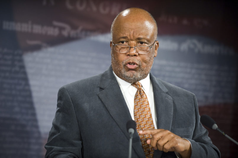 Rep. Bennie Thompson, D-Miss., speaks during a news conference in the Senate Radio-TV Gallery studio on cyber security on Thursday, April 30, 2009.