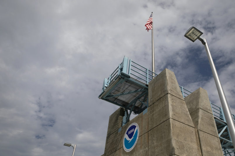 MIAMI, FL - AUGUST 29: The logo of National Oceanic and Atmospheric Administration (NOAA) is seen at the Nation Hurricane Center on August 29, 2019 in Miami, Florida. (Photo by Eva Marie Uzcategui/Getty Images)