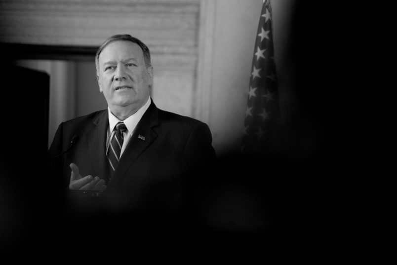 ROME, ITALY - OCTOBER 02: American Secretary of State Mike Pompeo attends the Meeting with the Foreign Minister  Luigi Di Maio with the American Secretary of State Mike Pompeo, on October 2, 2019 in Rome, Italy. (Photo by Simona Granati - Corbis/Getty Images,) *** Local Caption *** Michael Richard Pompeo