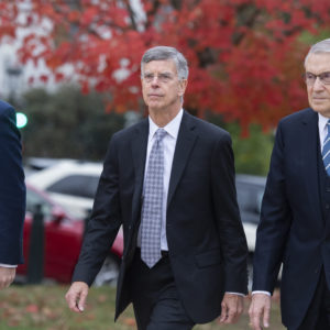 UNITED STATES - OCTOBER 16: Bill Taylor, center, the acting U.S. ambassador to Ukraine, arrives to the Capitol for a deposition related to the House's impeachment inquiry on Tuesday, October 22, 2019. (Photo By Tom Williams/CQ Roll Call),